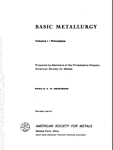 Basic metallurgy. Edited by A.W. Grosvenor. v.1 - Pdf