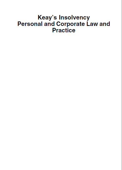 Keay's Insolvency: Personal & Corporate Law and Practice - Orginal Pdf