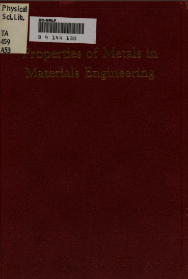 Properties of metals in materials engineering BY Templin - Pdf
