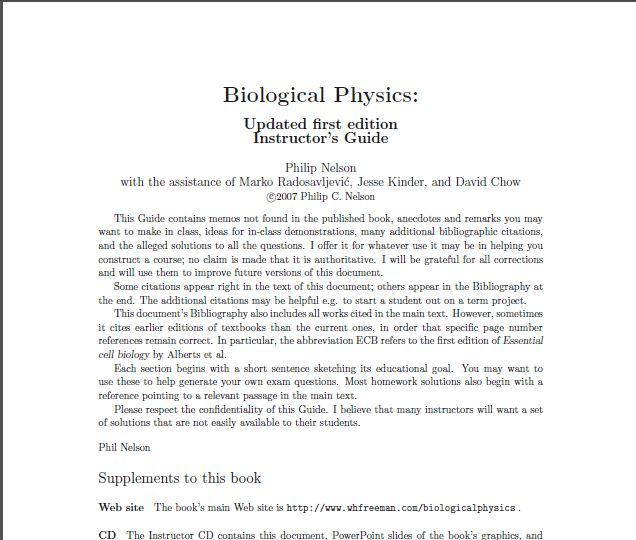 Solution Manual + all instructorresources of Biological Physics: with New Art by David Goodsell