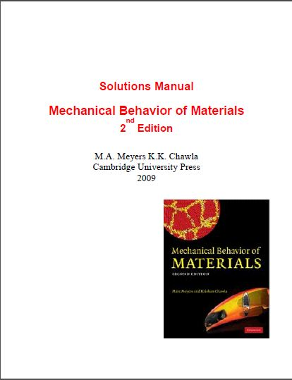 Solution Manual Mechanical Behavior of Materials 2nd Edition