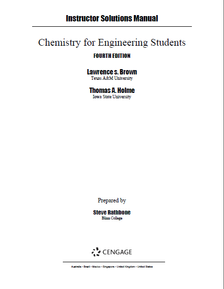Solutions Manual for Chemistry for Engineering Students (4th Edition) - Pdf